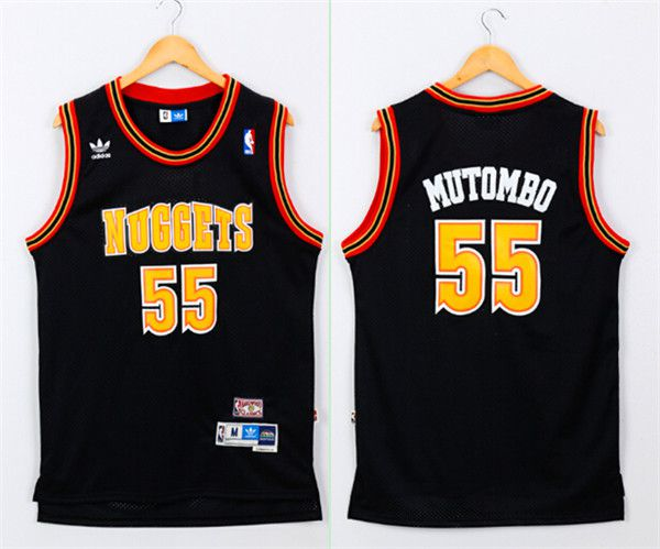 Men Denver Nuggets 55 Mutombo Black Adidas NBA Jerseys