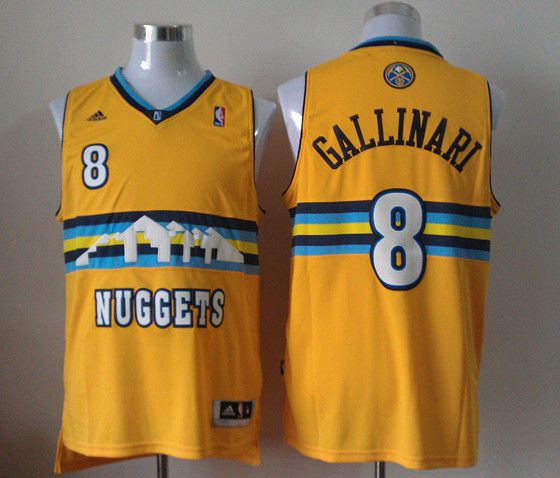 Men Denver Nuggets 8 Gallinari Yellow Adidas NBA Jerseys