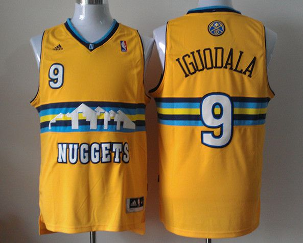 Men Denver Nuggets 9 Iguodala Yellow Adidas NBA Jerseys