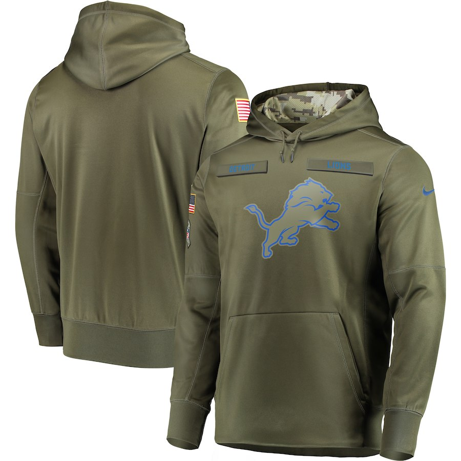 Men Detroit Lions Nike Olive Salute To Service KO Performance Hoodie Green