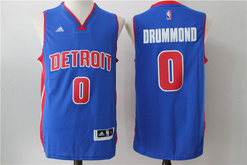 Men Detroit Pistons 0 Drummond Blue Stitched NBA Jersey