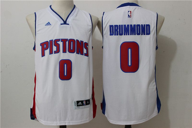 Men Detroit Pistons 0 Drummond White Stitched NBA Jersey