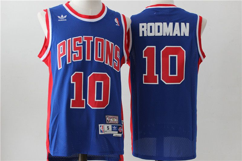 Men Detroit Pistons 10 Rodman Blue Throwback Stitched NBA Jersey