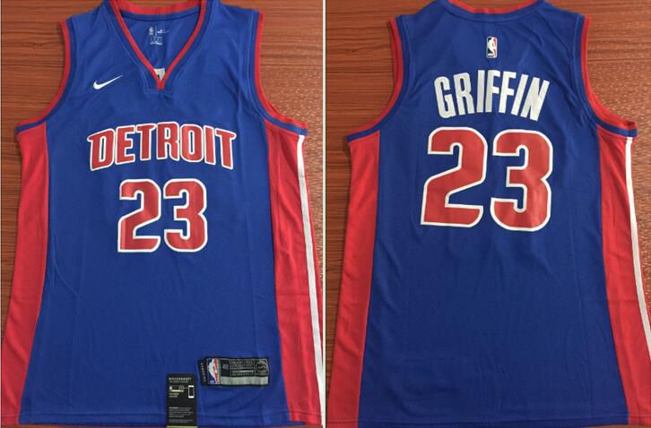 Men Detroit Pistons 23 Griffin Blue Nike Game NBA Jerseys