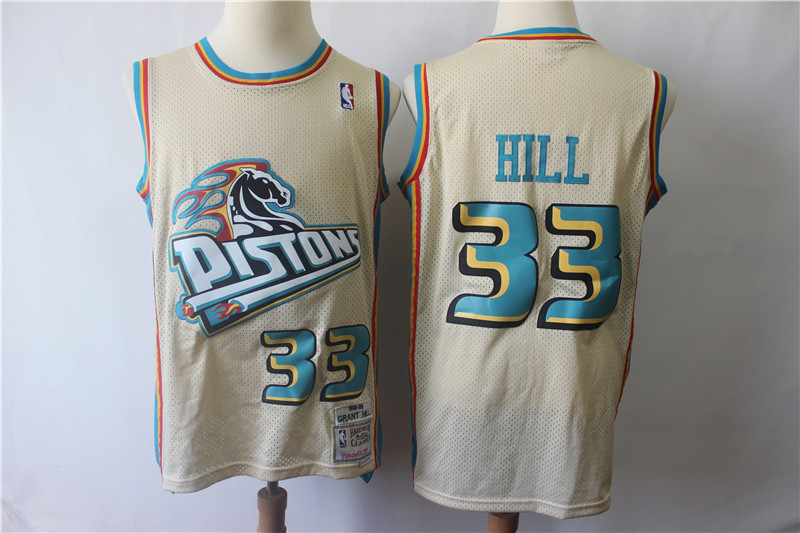 Men Detroit Pistons 33 Grant Hill Cream Throwback Stitched NBA Jersey