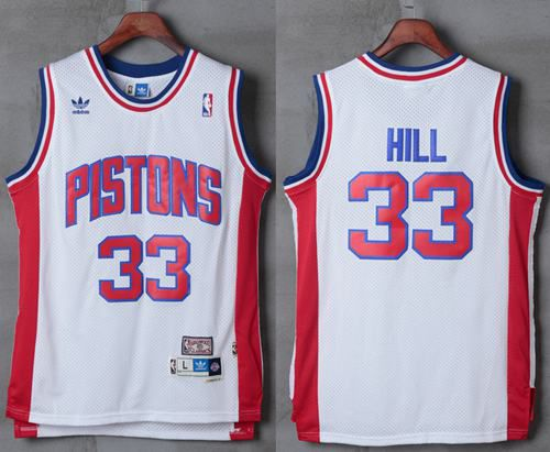 Men Detroit Pistons 33 Grant Hill White Hardwood Classics Stitched NBA Jersey