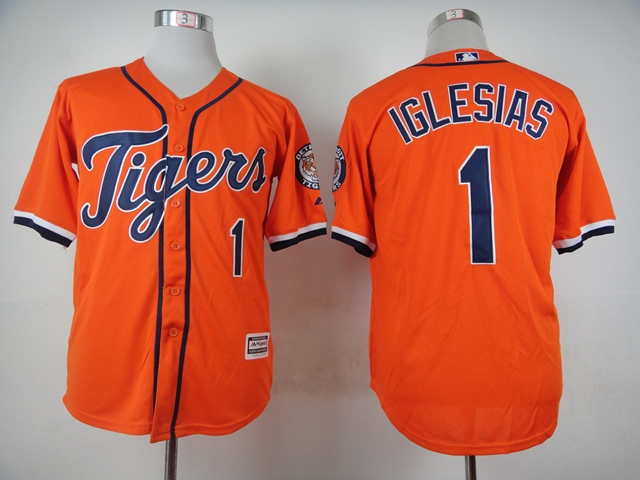 Men Detroit Tigers 1 Iglesias Orange MLB Jerseys