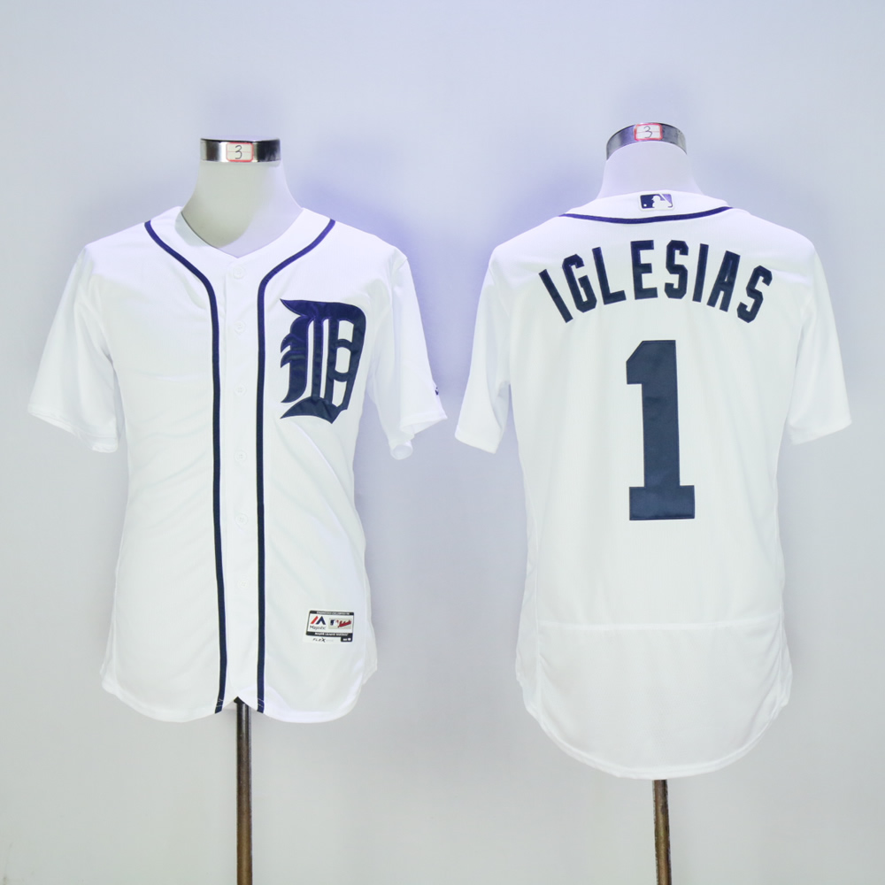 Men Detroit Tigers 1 Iglesias White MLB Jerseys
