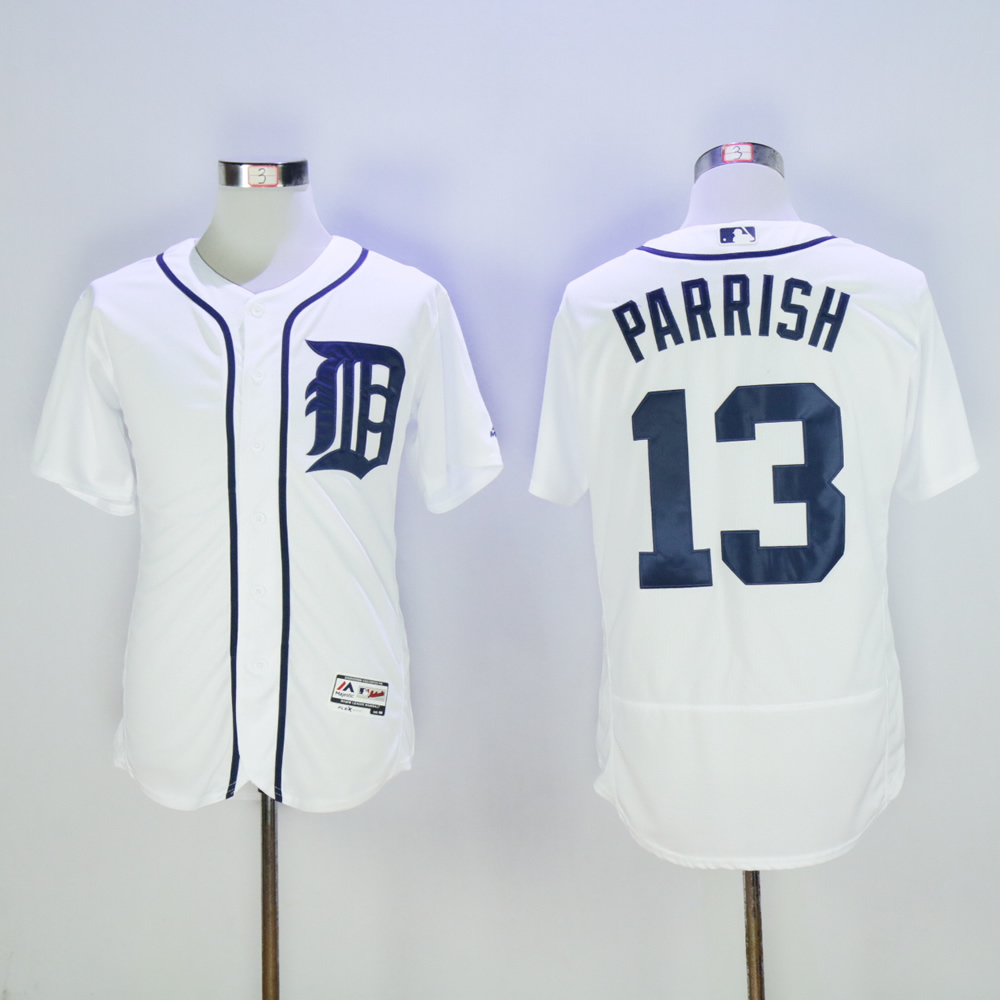 Men Detroit Tigers 13 Parrish White Throwback MLB Jerseys