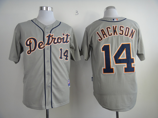 Men Detroit Tigers 14 Jackson Grey MLB Jerseys