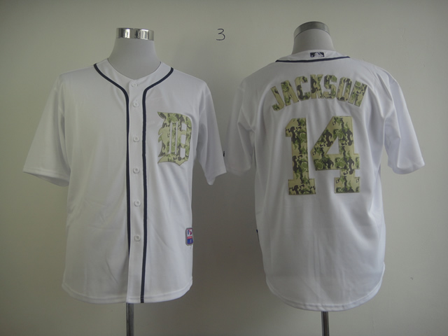 Men Detroit Tigers 14 Jackson White Camo MLB Jerseys