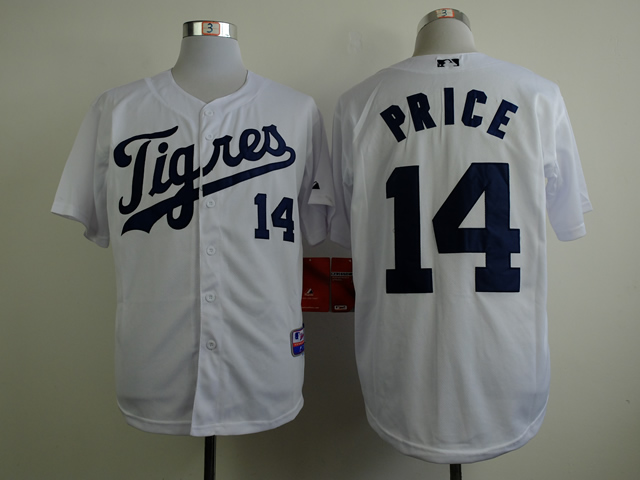 Men Detroit Tigers 14 Price White MLB Jerseys