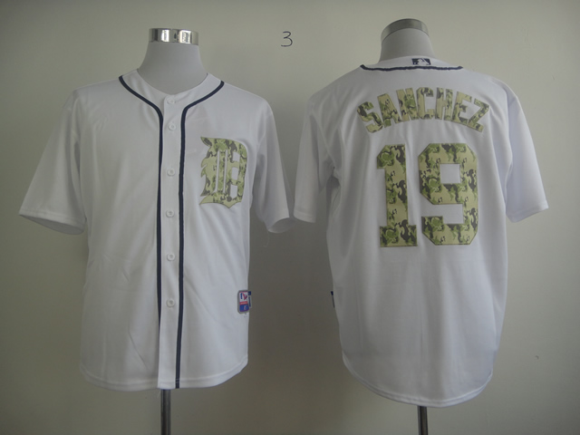 Men Detroit Tigers 19 Sanchez White Camo MLB Jerseys