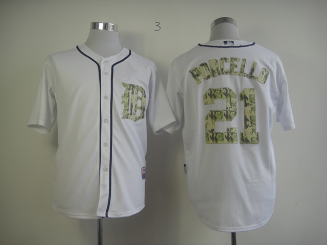 Men Detroit Tigers 21 Porcello White Camo MLB Jerseys