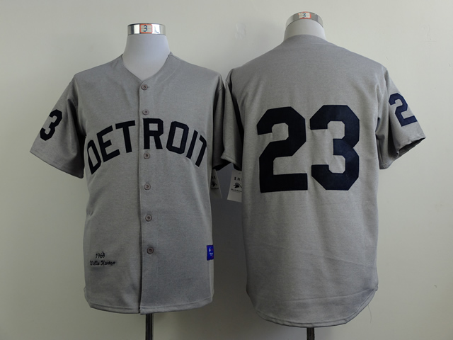 Men Detroit Tigers 23 Gibson Grey MLB Jerseys