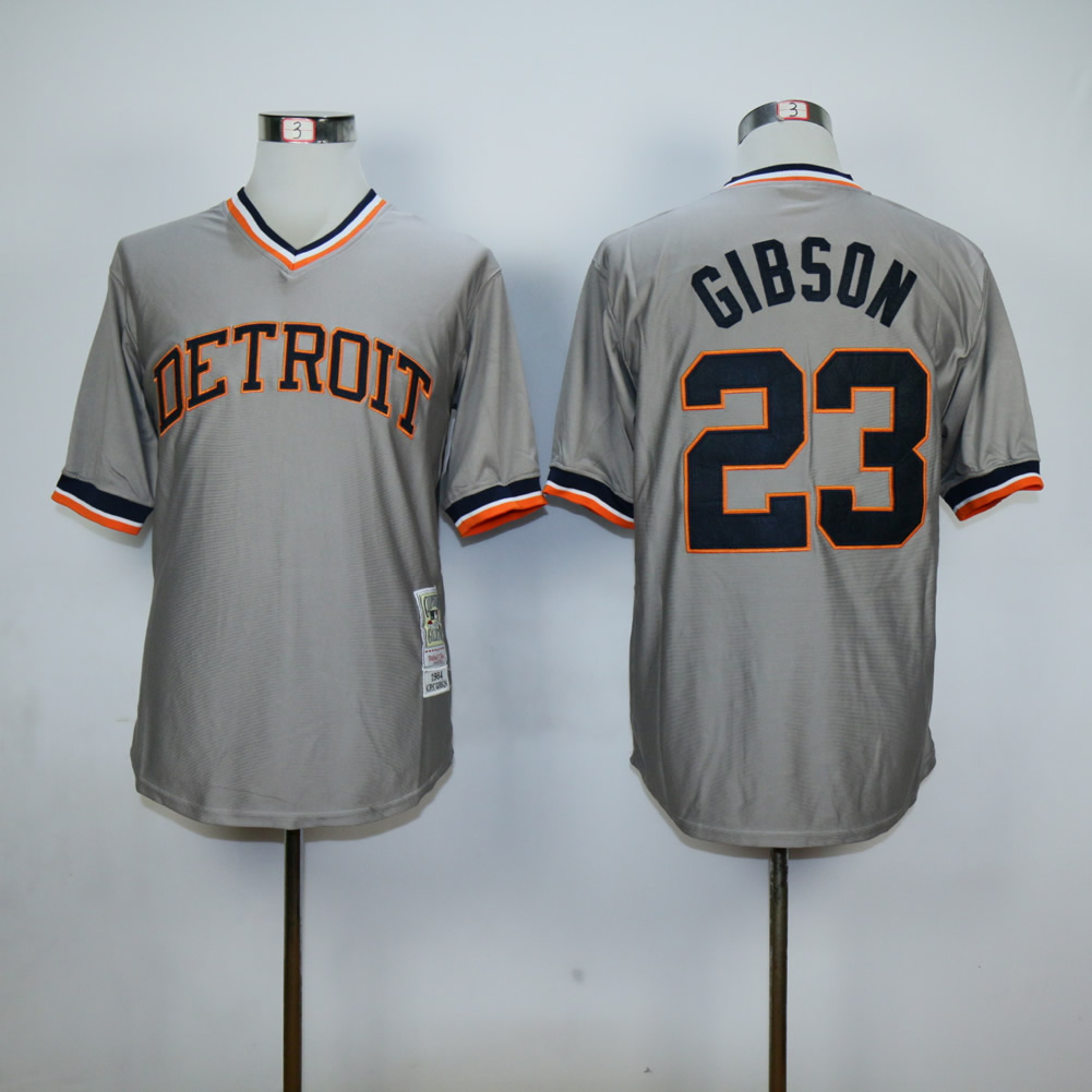 Men Detroit Tigers 23 Gibson Grey Throwback MLB Jerseys