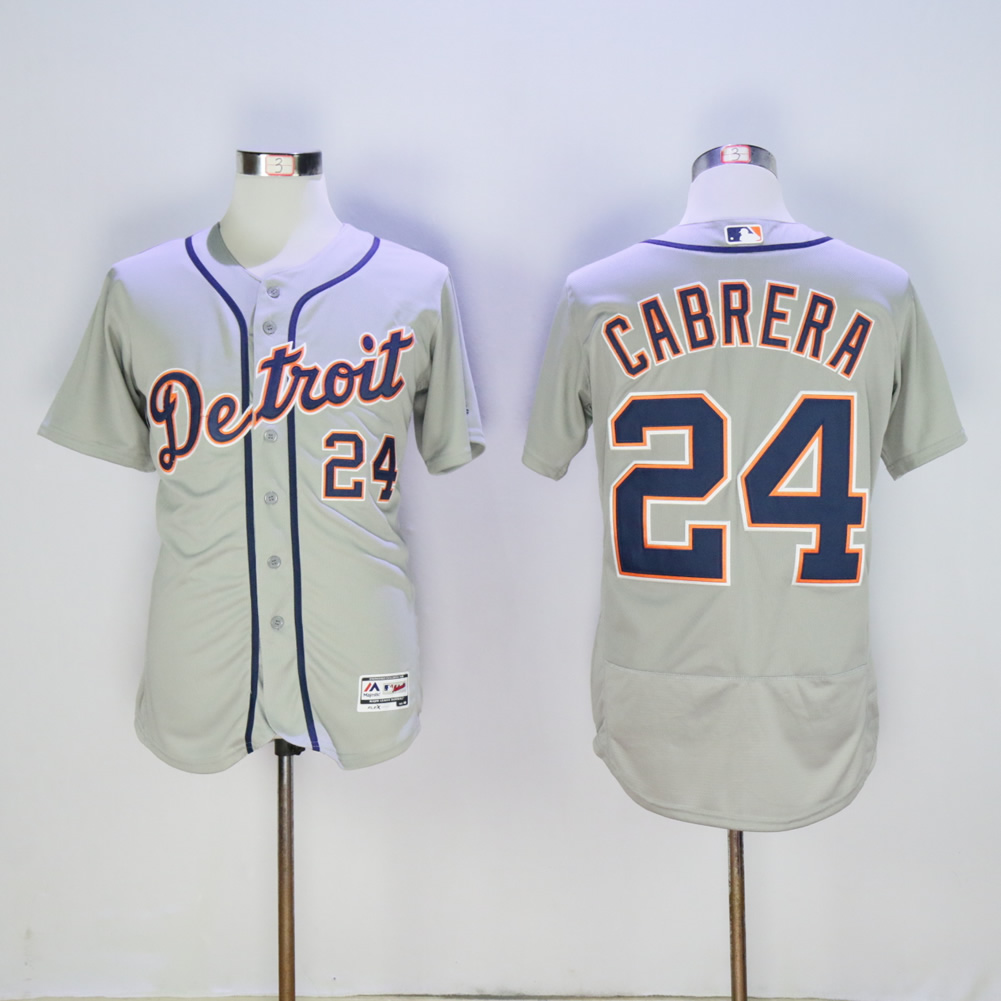 Men Detroit Tigers 24 Cabrera Grey MLB Jerseys