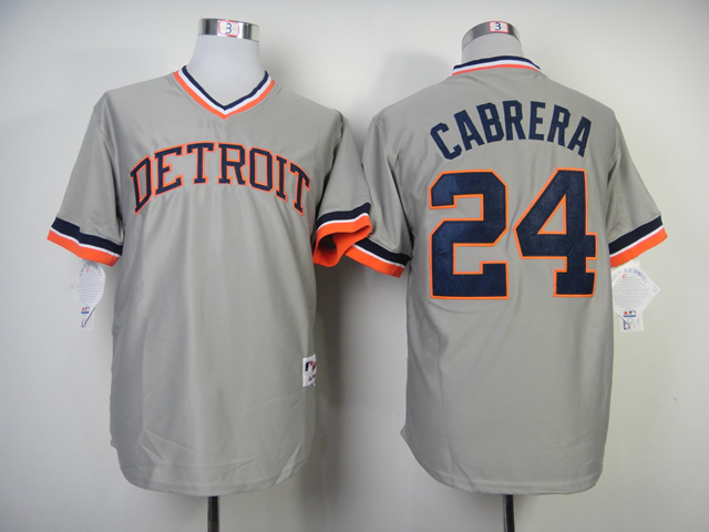 Men Detroit Tigers 24 Cabrera Grey Throwback 1984 MLB Jerseys