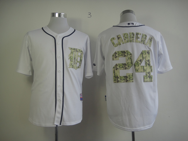 Men Detroit Tigers 24 Cabrera White Camo MLB Jerseys