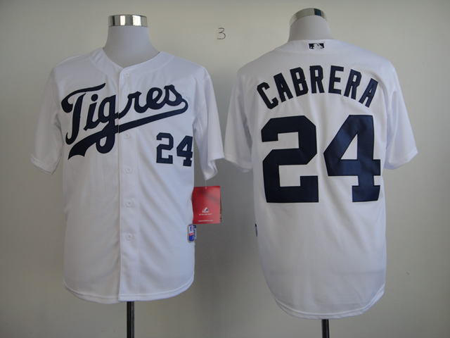 Men Detroit Tigers 24 Cabrera White MLB Jerseys1