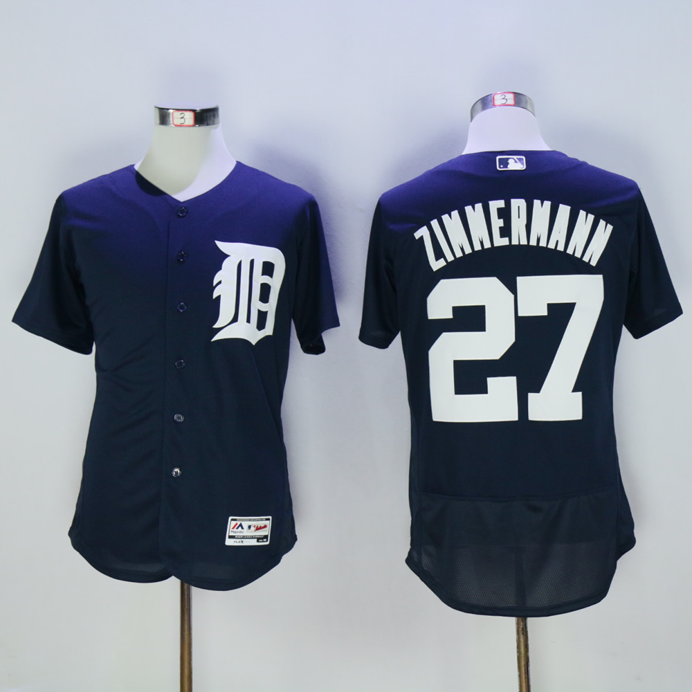 Men Detroit Tigers 27 Zimmermann Blue MLB Jerseys