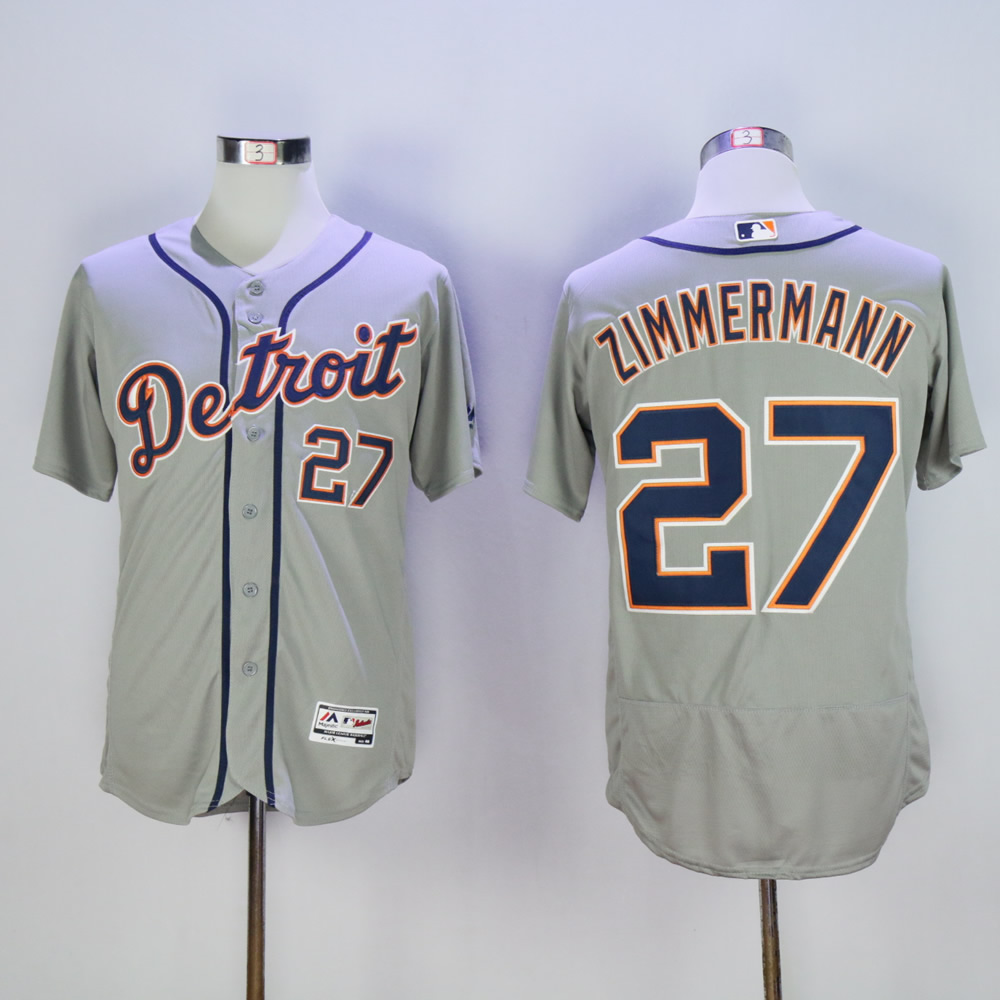 Men Detroit Tigers 27 Zimmermann Grey MLB Jerseys