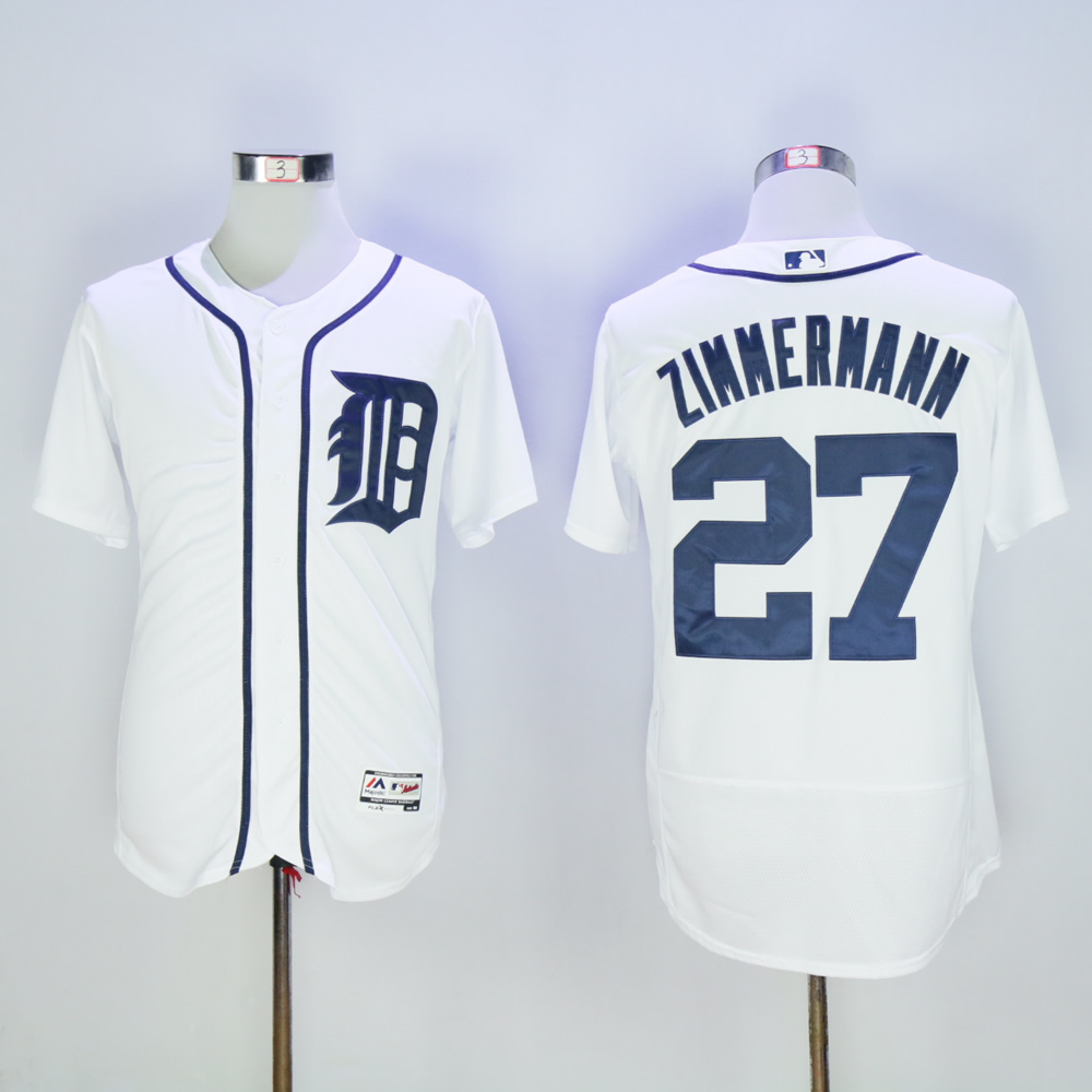 Men Detroit Tigers 27 Zimmermann White MLB Jerseys