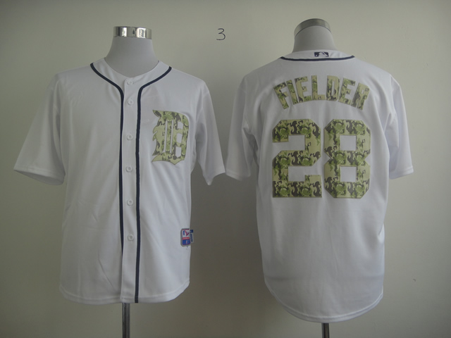 Men Detroit Tigers 28 Fielder White Camo MLB Jerseys