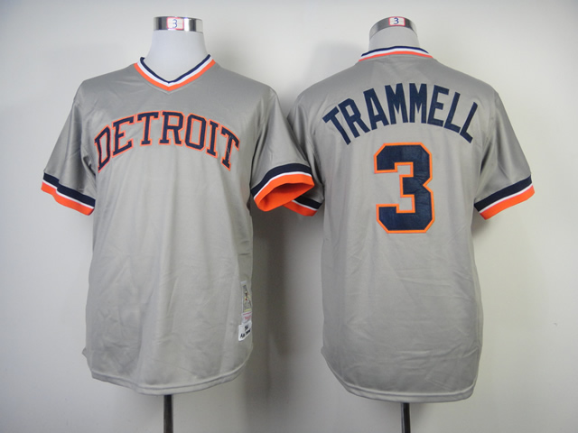 Men Detroit Tigers 3 Kinsler Grey Throwback MLB Jerseys