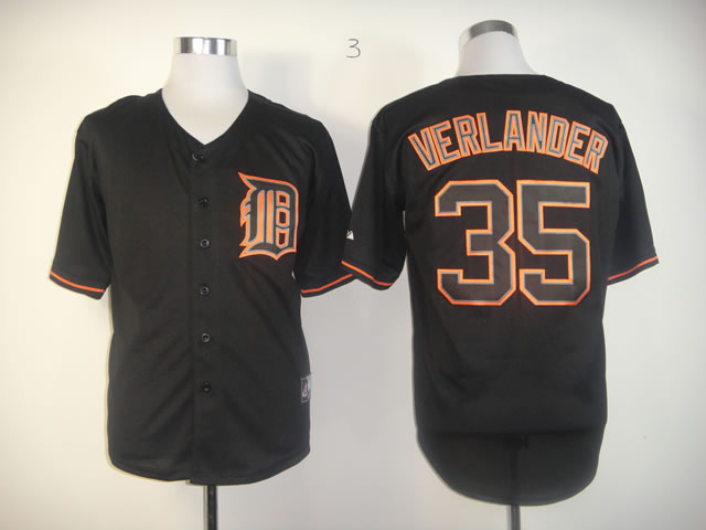 Men Detroit Tigers 35 Verlander Black MLB Jerseys