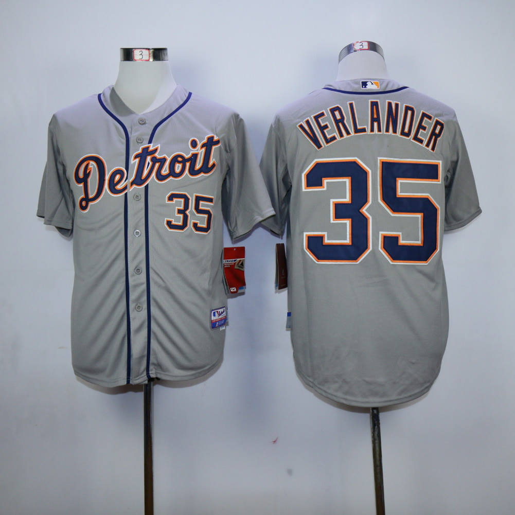 Men Detroit Tigers 35 Verlander Grey MLB Jerseys