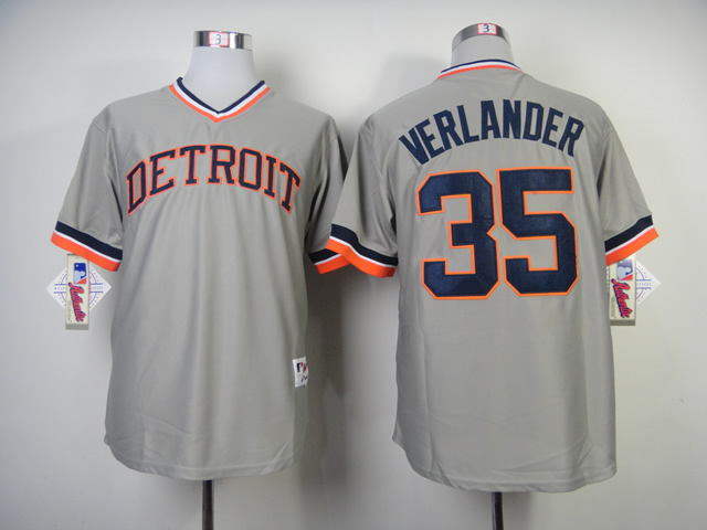 Men Detroit Tigers 35 Verlander Grey Throwback MLB Jerseys