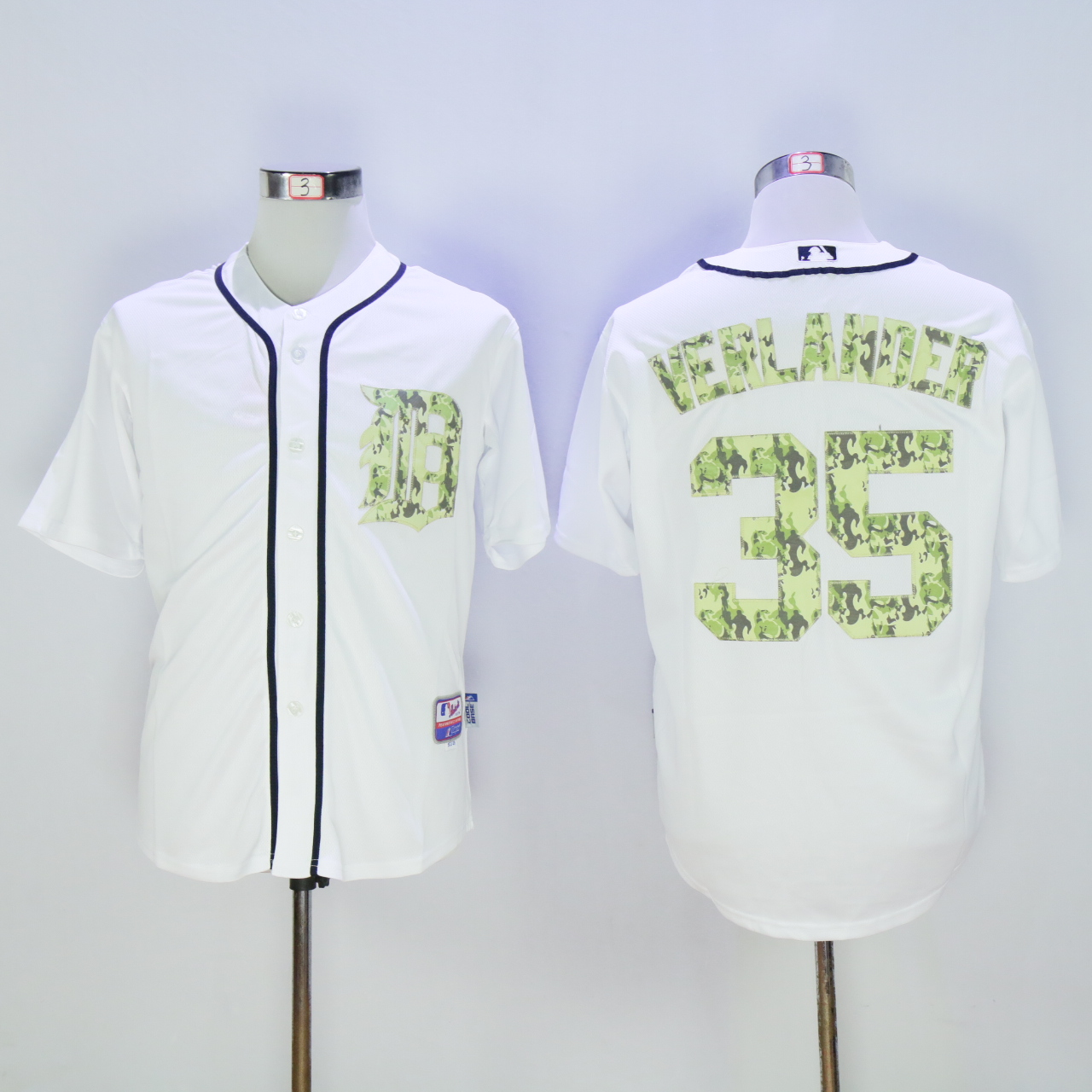 Men Detroit Tigers 35 Verlander White Camo MLB Jerseys