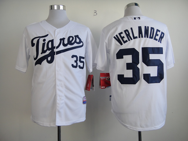 Men Detroit Tigers 35 Verlander White MLB Jerseys