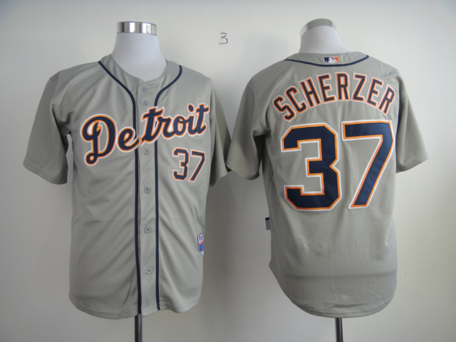 Men Detroit Tigers 37 Scherzer Grey MLB Jerseys