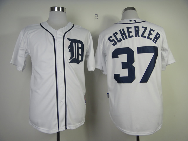 Men Detroit Tigers 37 Scherzer White MLB Jerseys