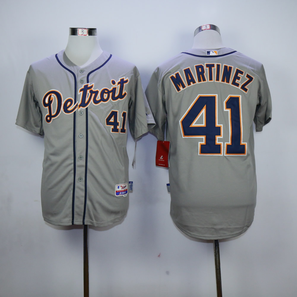 Men Detroit Tigers 41 Martinez Grey MLB Jerseys