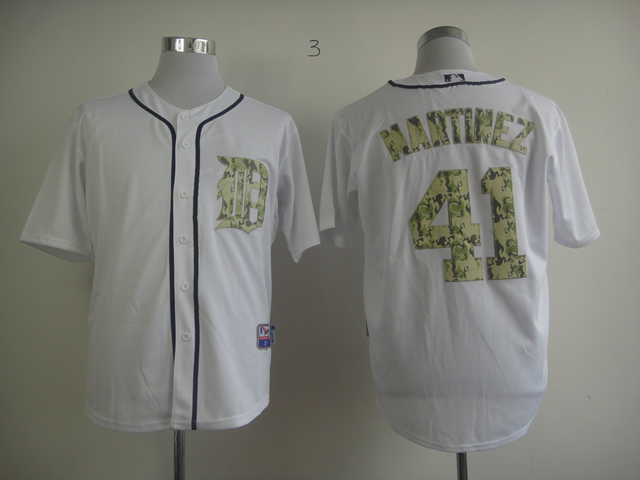 Men Detroit Tigers 41 Martinez White Camo MLB Jerseys