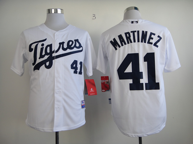 Men Detroit Tigers 41 Martinez White MLB Jerseys1