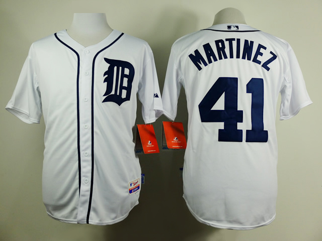 Men Detroit Tigers 41 Martinez Whtie MLB Jerseys