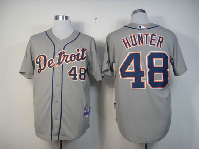 Men Detroit Tigers 48 Hunter Grey MLB Jerseys
