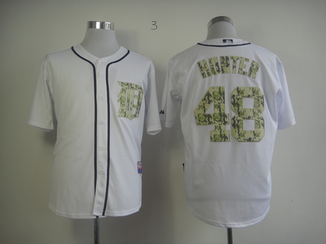 Men Detroit Tigers 48 Hunter White Camo MLB Jerseys