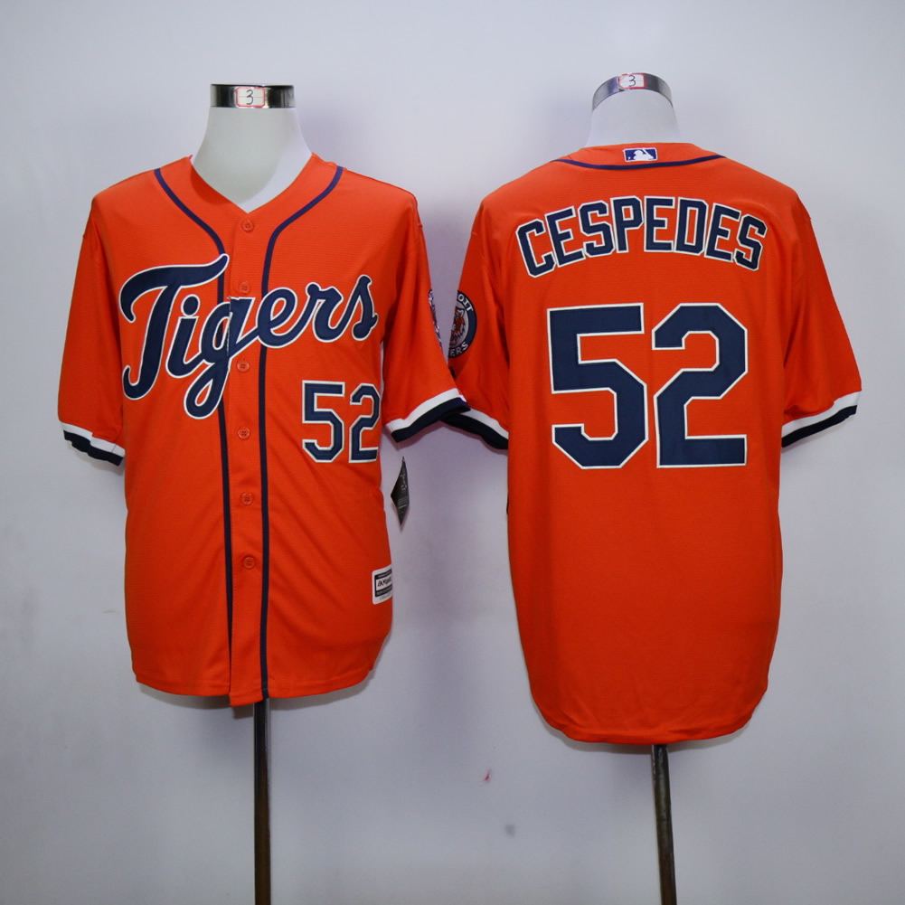 Men Detroit Tigers 52 Cespedes Orange MLB Jerseys