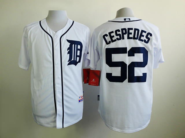 Men Detroit Tigers 52 Cespedes White MLB Jerseys
