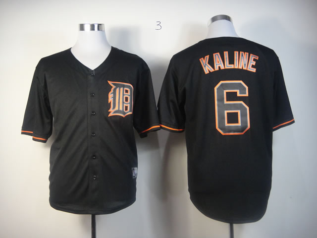 Men Detroit Tigers 6 Kaline Black MLB Jerseys