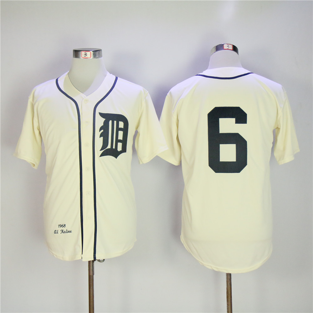 Men Detroit Tigers 6 Kaline Cream Throwback MLB Jerseys