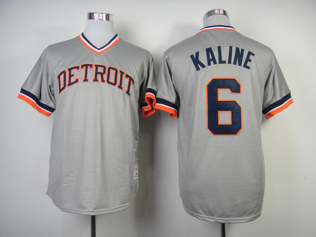 Men Detroit Tigers 6 Kaline Grey Throwback MLB Jerseys