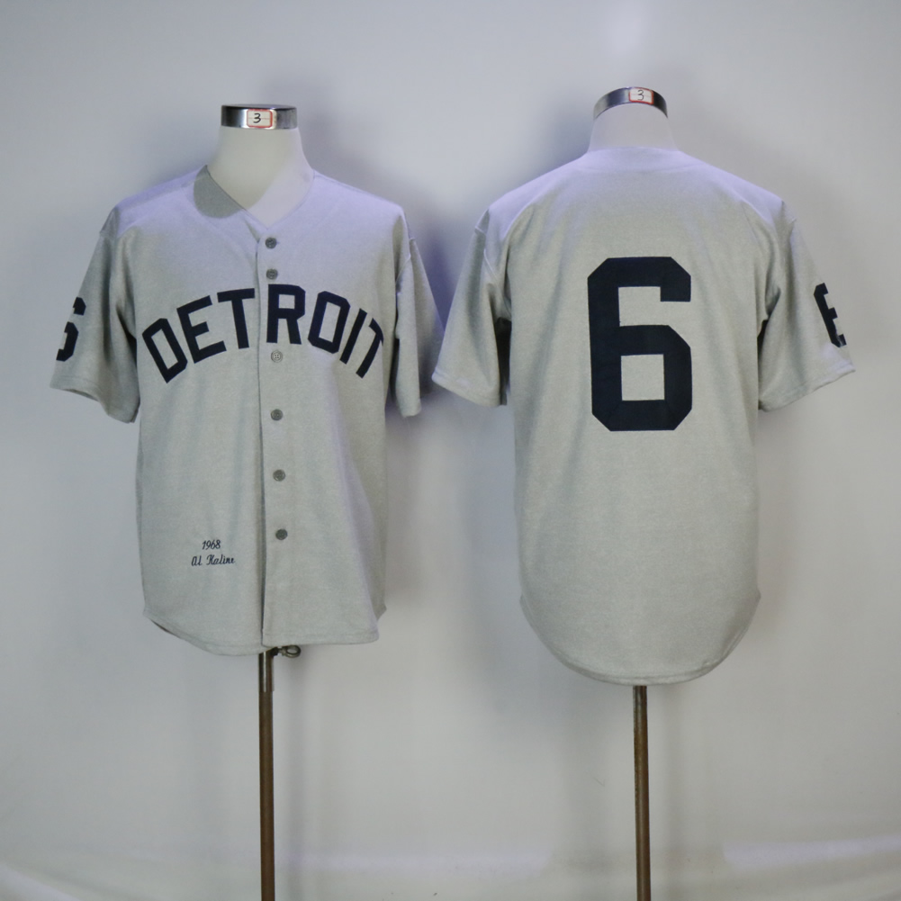 Men Detroit Tigers 6 Kaline Grey Throwback MLB Jerseys1