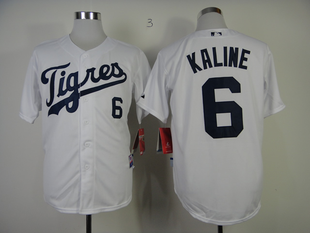 Men Detroit Tigers 6 Kaline White Cool Base MLB Jerseys