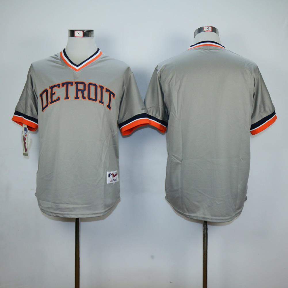 2281bc164 Men Detroit Tigers Blank Grey Throwback MLB Jerseys